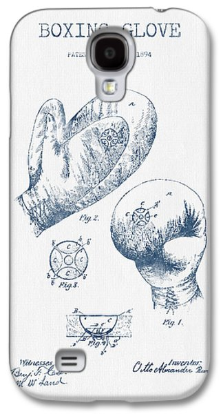 Boxing Digital Galaxy S4 Cases - Boxing Glove Patent Drawing from 1894  -  Blue Ink Galaxy S4 Case by Aged Pixel