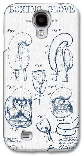 Boxing Digital Galaxy S4 Cases - Boxing Glove Patent Drawing from 1896  -  Blue Ink Galaxy S4 Case by Aged Pixel