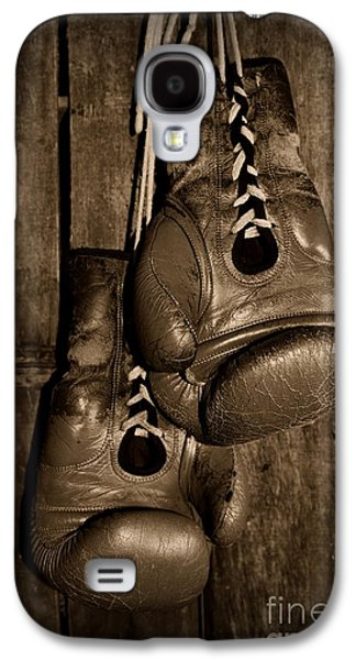 Boxer Galaxy S4 Cases - Boxing Gloves  black and white Galaxy S4 Case by Paul Ward