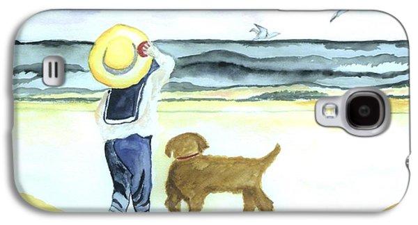 Shirt Digital Art Galaxy S4 Cases - Boy and His Dog Galaxy S4 Case by Marsha Heiken