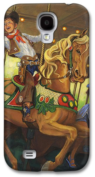 Carousel Horse Paintings Galaxy S4 Cases - Boy on Carousel Horse Galaxy S4 Case by Don  Langeneckert