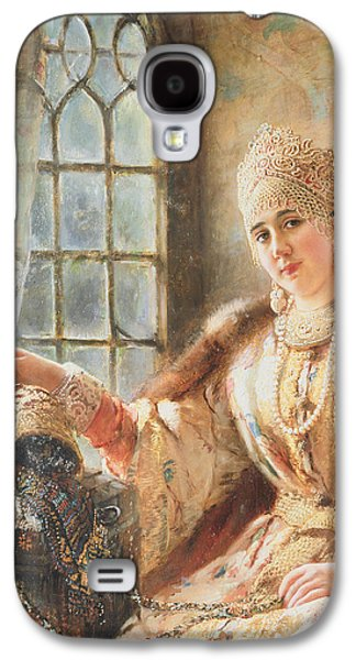 Gold Earrings Galaxy S4 Cases - Boyars Wife at the Window Galaxy S4 Case by Konstantin Egorovich Makovsky
