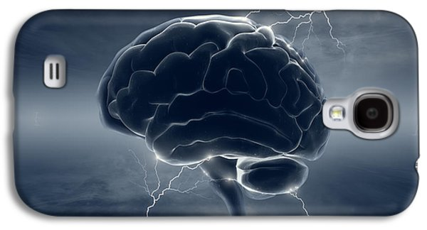 Lightning Digital Art Galaxy S4 Cases - Brain in stormy clouds - conceptual brainstorm Galaxy S4 Case by Johan Swanepoel