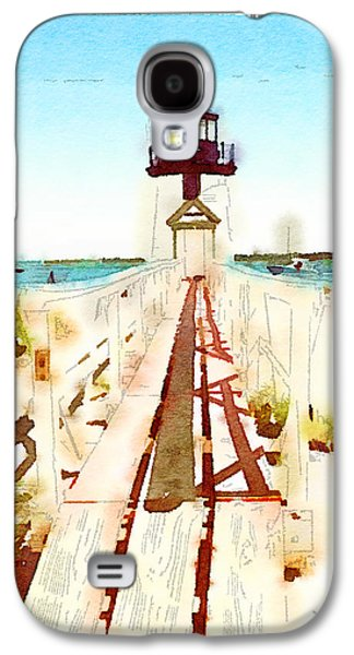 New England Lighthouse Paintings Galaxy S4 Cases - Brant Point Painted Galaxy S4 Case by Natasha Marco