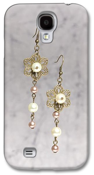 Flower Jewelry Galaxy S4 Cases - Brass Flower and Pearl Earrings Galaxy S4 Case by Kimberly Johnson