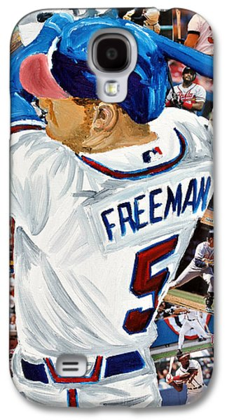 Brave Mixed Media Galaxy S4 Cases - Braves Freeman Galaxy S4 Case by Michael Lee