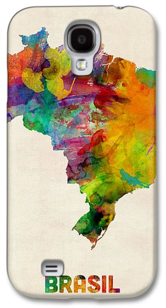 Map Galaxy S4 Cases - Brazil Watercolor Map Galaxy S4 Case by Michael Tompsett