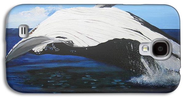 Catherine White Paintings Galaxy S4 Cases - Breaching Whale Galaxy S4 Case by Cathy Jacobs