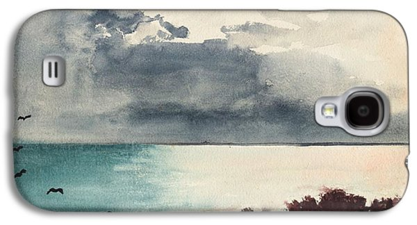 Maine Landscapes Paintings Galaxy S4 Cases - Breaking Storm Coast of Maine Galaxy S4 Case by Winslow Homer