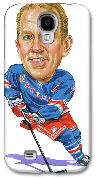 Hockey Paintings Galaxy S4 Cases - Brian Leetch Galaxy S4 Case by Art