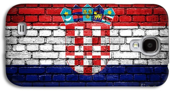 Torn Galaxy S4 Cases - Brick wall with painted flag of Croatia Galaxy S4 Case by Aleksandar Mijatovic