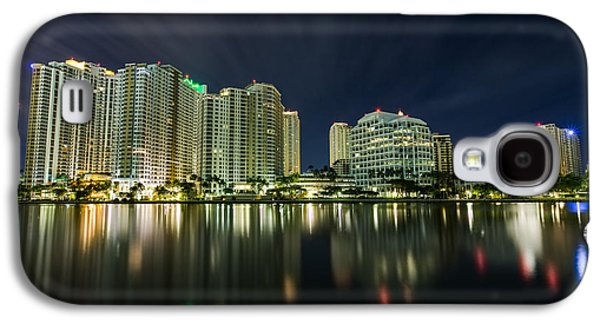 Vibrant Galaxy S4 Cases - Brickell Key Night Cityscape Galaxy S4 Case by Andres Leon