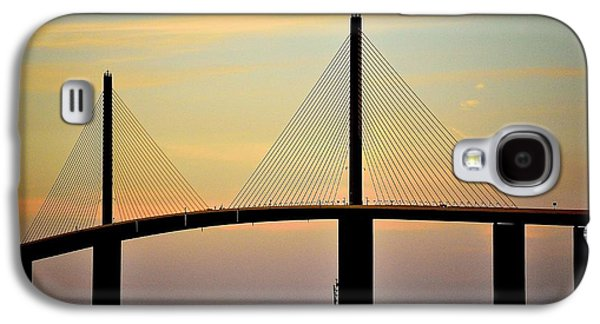 Sunshine Skyway Bridge Galaxy S4 Cases - Bridge at Dusk Galaxy S4 Case by Charles J Pfohl