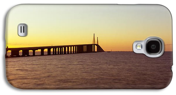 Sunshine Skyway Bridge Galaxy S4 Cases - Bridge At Sunrise, Sunshine Skyway Galaxy S4 Case by Panoramic Images