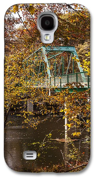 Autumn Leaf On Water Galaxy S4 Cases - Bridge Crossing Over The River in The Autumn Trees Fine Art prints As Gift For The Holidays  Galaxy S4 Case by Jerry Cowart
