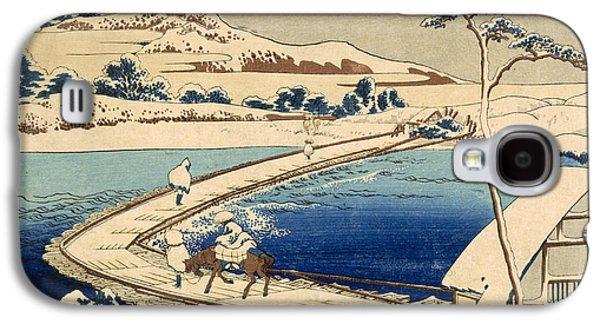 Block Print Drawings Galaxy S4 Cases - Bridge of Boats at Sawa Galaxy S4 Case by Hokusai Katasushika