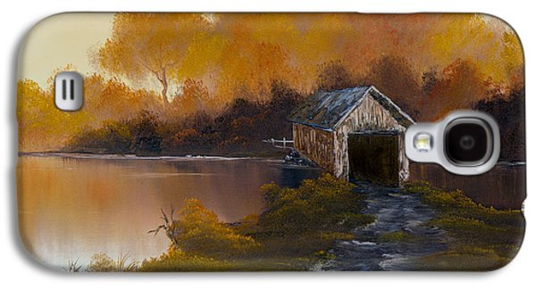 Sawtooth Mountain Paintings Galaxy S4 Cases - Covered Bridge in Fall Galaxy S4 Case by C Steele