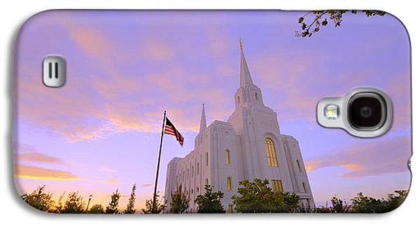 City Lights Galaxy S4 Cases - Brigham City Temple I Galaxy S4 Case by Chad Dutson