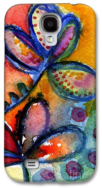 Colorful Abstract Galaxy S4 Cases - Bright Abstract Flowers Galaxy S4 Case by Linda Woods