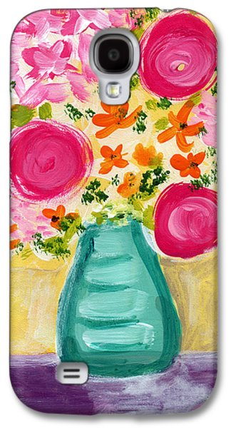 Still Life Mixed Media Galaxy S4 Cases - Bright Flowers Galaxy S4 Case by Linda Woods