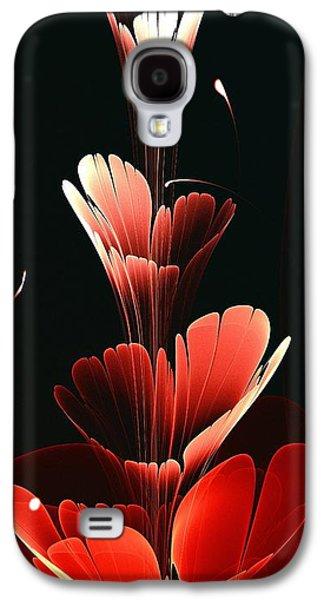 Abstract Digital Mixed Media Galaxy S4 Cases - Bright Red Galaxy S4 Case by Anastasiya Malakhova