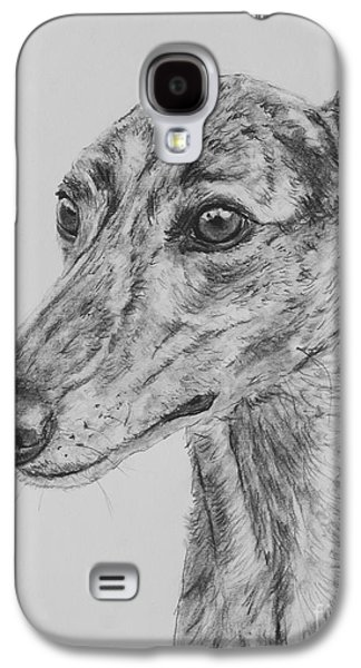 Brindle Greyhound Face In Profile Galaxy S4 Case by Kate Sumners