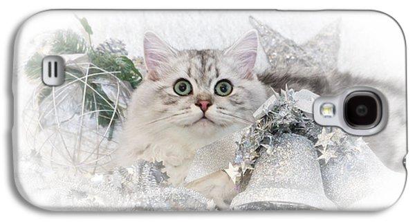 Breed Digital Art Galaxy S4 Cases - British Longhair Cat CHRISTMAS TIME II Galaxy S4 Case by Melanie Viola