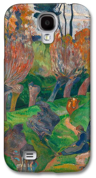 Landscape With Mountains Galaxy S4 Cases - Brittany Landscape with cows Galaxy S4 Case by Paul Gauguin