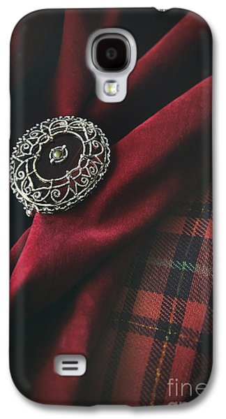 Atmosphere Photographs Galaxy S4 Cases - Brooch with red velvet and green plaid Galaxy S4 Case by Sandra Cunningham