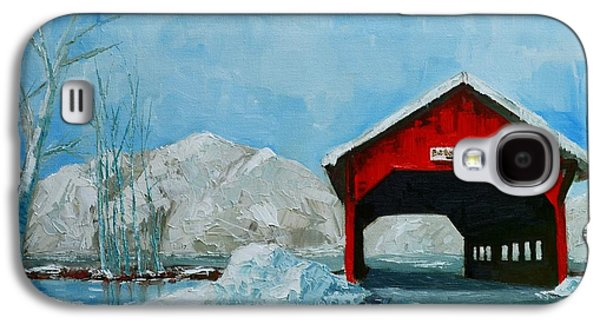 Covered Bridge Paintings Galaxy S4 Cases - Brookdale Bridge Vermont Stowe Winter Scene Galaxy S4 Case by Patricia Awapara
