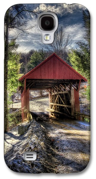 New England Snow Scene Galaxy S4 Cases - Sterling Covered Bridge - Stowe Vermont Galaxy S4 Case by Joann Vitali