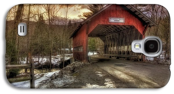New England Snow Scene Galaxy S4 Cases - Brookdale Covered Bridge - Stowe VT Galaxy S4 Case by Joann Vitali