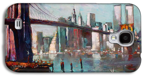Brooklyn Bridge And Twin Towers Galaxy S4 Case by Ylli Haruni