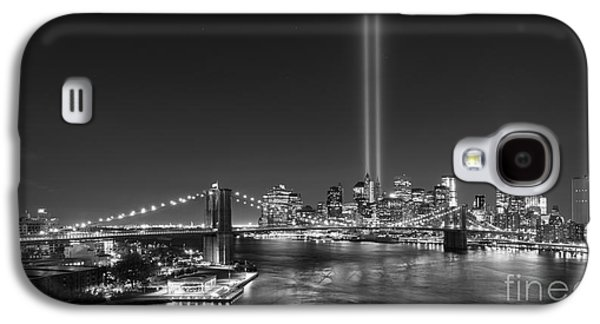 Manhatan Galaxy S4 Cases - Brooklyn Bridge September 11 wide crop bnw Galaxy S4 Case by Michael Ver Sprill