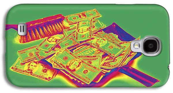 Investment Galaxy S4 Cases - Broom Sweeping Up American Money Pop Art Galaxy S4 Case by Keith Webber Jr
