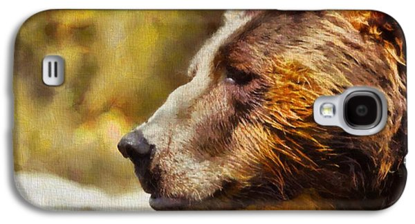 Smiling Mixed Media Galaxy S4 Cases - Brown Bear Painting Galaxy S4 Case by Dan Sproul