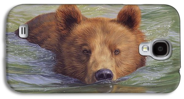 Salmon Paintings Galaxy S4 Cases - Brown Bear Painting Galaxy S4 Case by David Stribbling