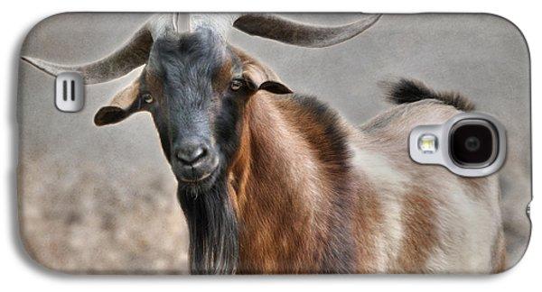 Goat Digital Art Galaxy S4 Cases - Brown Billy Goat Galaxy S4 Case by Lori Deiter