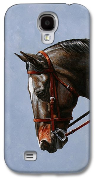 Horseback Galaxy S4 Cases - Brown Dressage Horse Phone Case Galaxy S4 Case by Crista Forest
