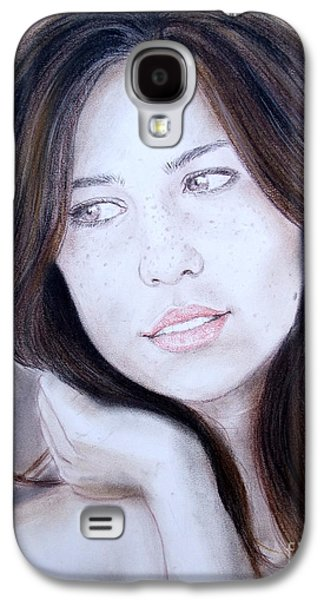 Beauty Mark Mixed Media Galaxy S4 Cases - Brown Haired and Lightly Freckled Beauty Galaxy S4 Case by Jim Fitzpatrick