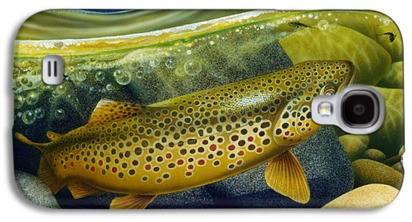 Flyfishing Galaxy S4 Cases - Brown Trout Galaxy S4 Case by Jon Q Wright