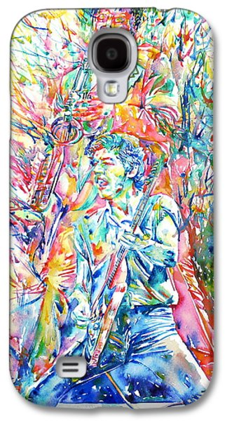 Bruce Springsteen Paintings Galaxy S4 Cases - BRUCE SPRINGSTEEN and CLARENCE CLEMONS WATERCOLOR PORTRAIT Galaxy S4 Case by Fabrizio Cassetta