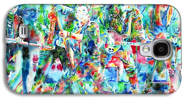 Bruce Springsteen Paintings Galaxy S4 Cases - BRUCE SPRINGSTEEN and the E STREET BAND - watercolor portrait Galaxy S4 Case by Fabrizio Cassetta