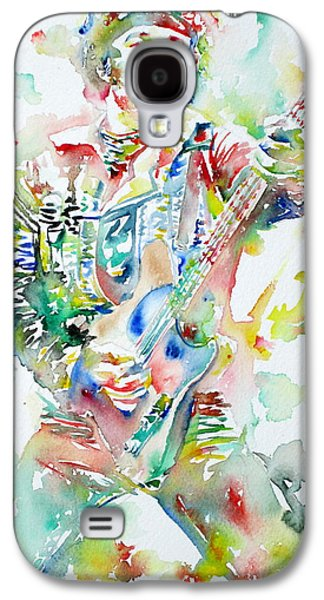 Bruce Springsteen Paintings Galaxy S4 Cases - BRUCE SPRINGSTEEN PLAYING the GUITAR WATERCOLOR PORTRAIT Galaxy S4 Case by Fabrizio Cassetta