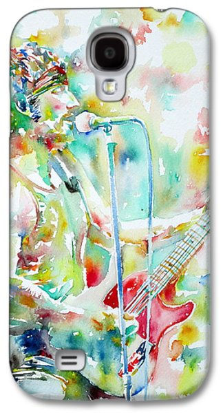 Bruce Springsteen Paintings Galaxy S4 Cases - BRUCE SPRINGSTEEN PLAYING the GUITAR WATERCOLOR PORTRAIT.1 Galaxy S4 Case by Fabrizio Cassetta