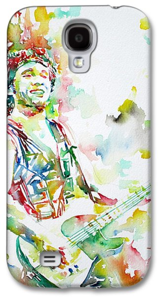 Bruce Springsteen Paintings Galaxy S4 Cases - BRUCE SPRINGSTEEN PLAYING the GUITAR WATERCOLOR PORTRAIT.2 Galaxy S4 Case by Fabrizio Cassetta