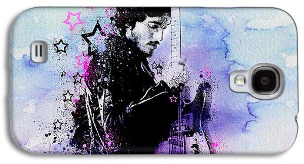 Bruce Springsteen Splats And Guitar 2 Galaxy S4 Case by Bekim Art