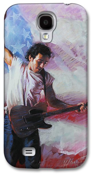Singer Mixed Media Galaxy S4 Cases - Bruce Springsteen The Boss Galaxy S4 Case by Viola El