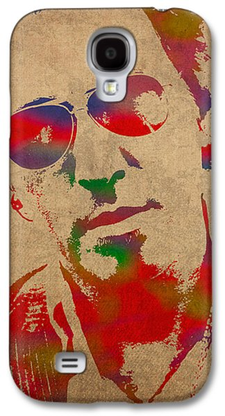 Worn Galaxy S4 Cases - Bruce Springsteen Watercolor Portrait on Worn Distressed Canvas Galaxy S4 Case by Design Turnpike