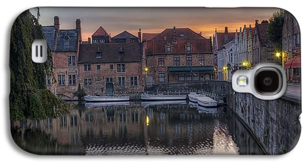 Landmarks Photographs Galaxy S4 Cases - Bruges Canal Dawn Galaxy S4 Case by Joan Carroll